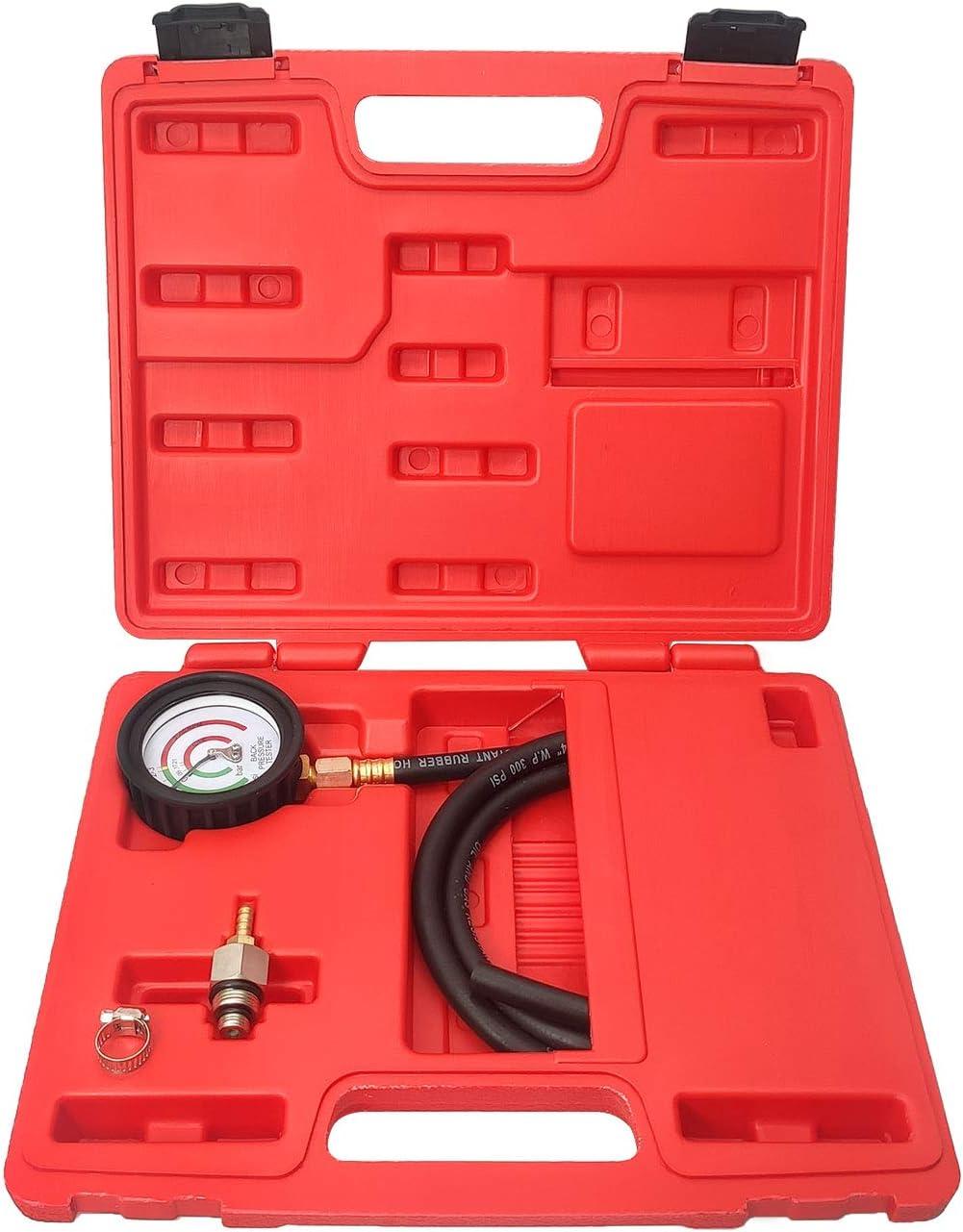 Doneioe Probador de contrapresi/ón de escape con adaptador de man/ómetro Estuche de almacenamiento de man/ómetro 1 paquete 27263