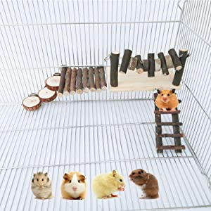 Hamiledyi Hamster Playground,Natural Wooden Climbing Ladder Exercise Platform Bendable Wooden Bridge Stairs Natural Apple Stick Chew Toys for Small Animals Syrian Hamster Gerbil Chinchilla Mouse