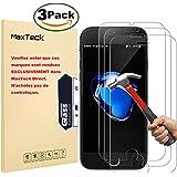 [3 Pièces] Verre Trempé iPhone 8 Plus / 7 Plus, MaxTeck Film Protection en Verre trempé écran Protecteur Vitre- ANTI RAYURES - SANS BULLES D'AIR -Ultra Résistant Dureté 9H Glass Screen Protector pour iPhone 7 Plus / 8 Plus - Compatible 3D Touch