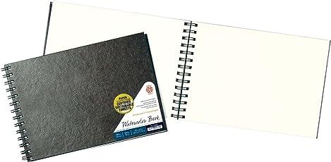 Pentalic Libro de bocetos de bambú, encuadernado rígido, 110 páginas, cuaderno de campo para acuarelas, encuadernado de alambre, 7-inch x 10-inch, 24 Sheet Wire Bound Field Book, Black, 1