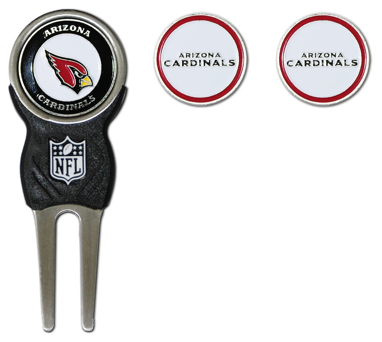 Team Golf NFL Arizona Cardinals Divot Tool with 3 Golf Ball Markers Pack, Markers are Removable Magnetic Double-Sided Enamel by Team Golf