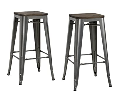 f0cde2c726ef9 Image Unavailable. Image not available for. Color  DHP Fusion Metal Backless  30 quot  Bar Stool with Wood Seat ...