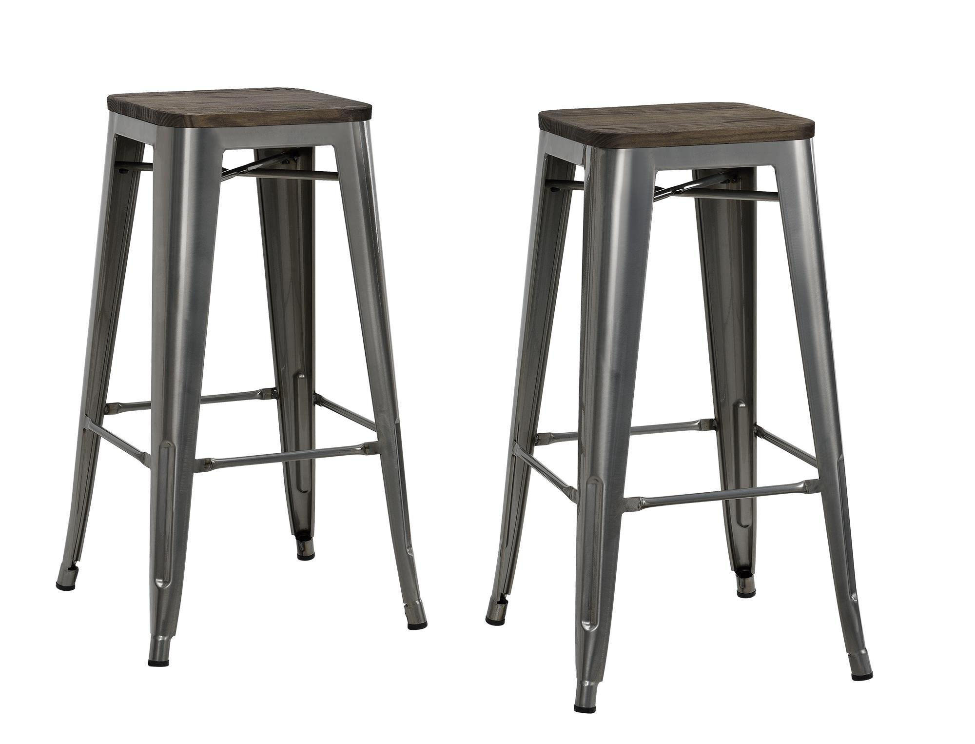 DHP Fusion Metal Backless Bar Stool with Wood Seat, Set of two, 30'', Grey