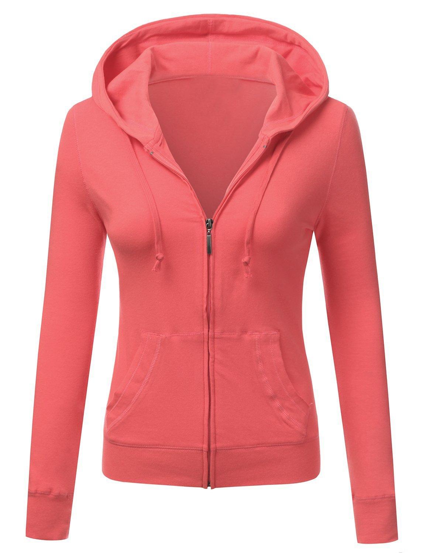 ClothingAve. Women's Basic Solid Knit Long Sleeve Zip up Hoodie Jacket (Medium, Coral)
