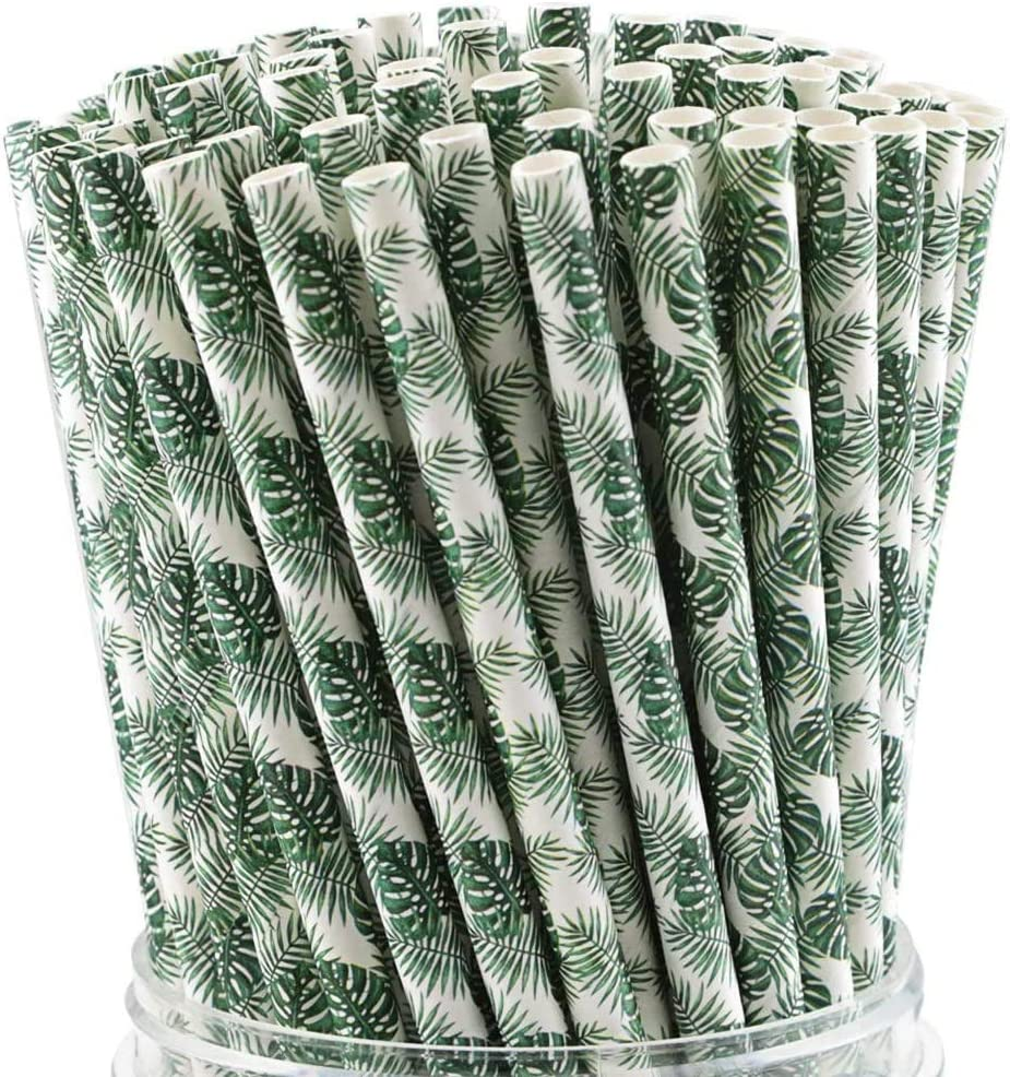 WTSHOP 100-Pack Tropical Leaves Paper Straws, Biodegradable Drinking Straw Bulk for Birthday Parties, Party Supplies, Wedding, Bridal/Baby Shower and Holiday Celebrations