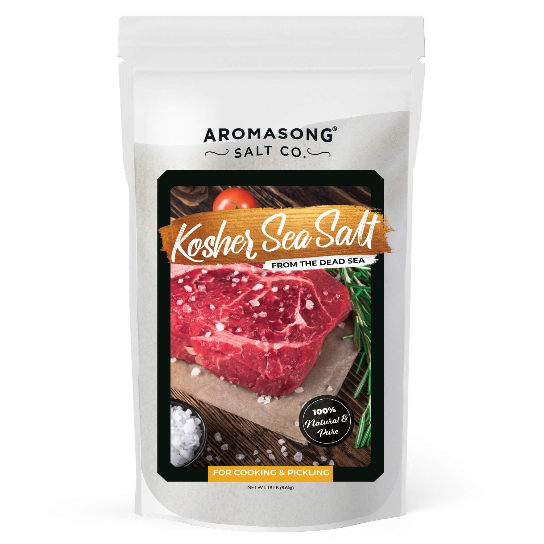 Organic Sea Salt Bulk Food Grade 19 Lb, Kosher Salt Grain, Large Resealable Bag, 100% Pure & Natural Dead Sea Salt, Gluten Free Unrefined Sea Salt, Grinder Refill For Daily Cooking, Canning & Pickling