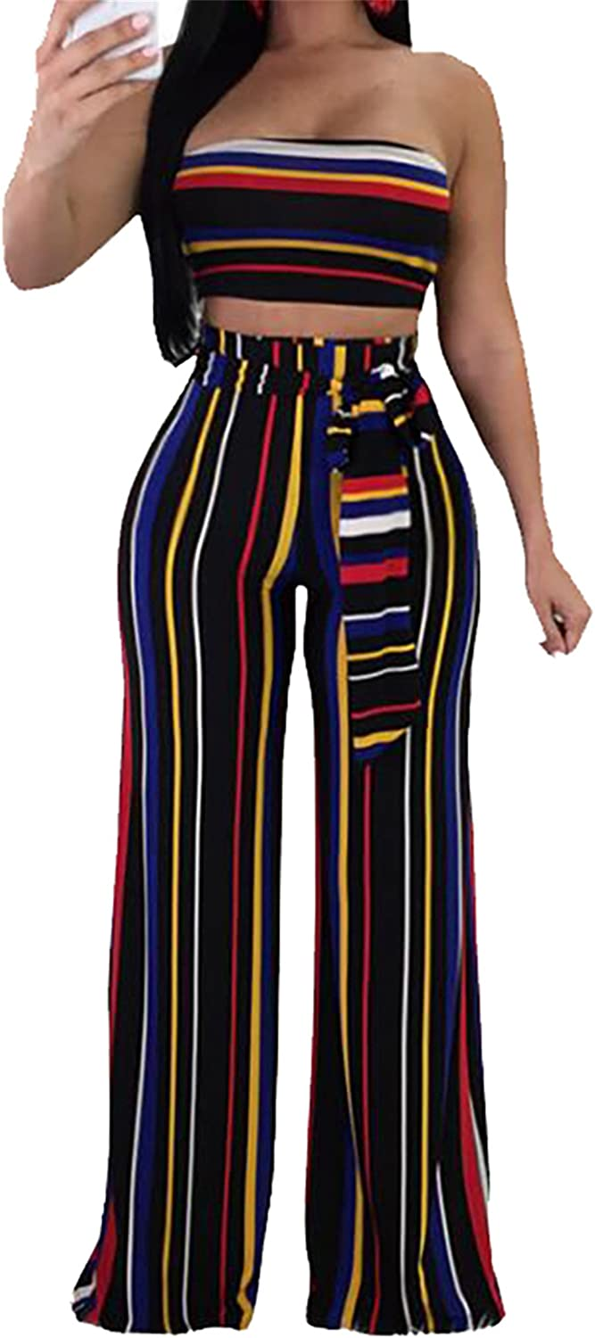 Happy Time-Women Two Pieces Stripe Strapless Crop Top and Wide Leg Palazzo Pants Outfits Black US XS