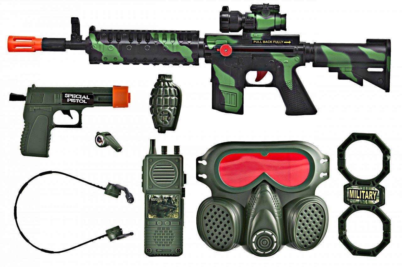 M16 Commando SWAT Force Friction Toy Gun Pretend Play Set TD M16CAMO