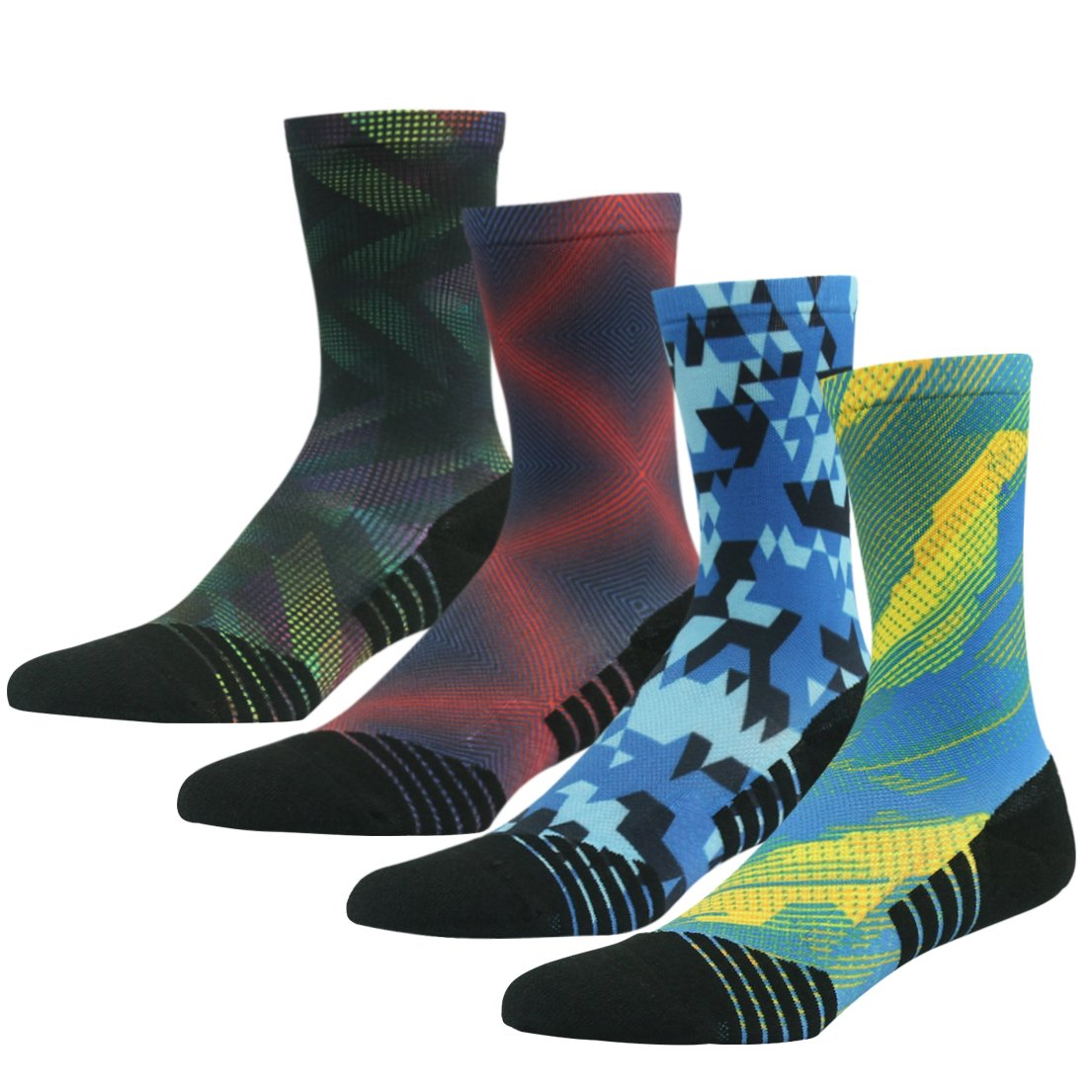 4 Pair color 2 Running Socks Support, HUSO Men Women High Performance Arch Compression Cushioned Quarter Socks 1,2,3,4,6 Pairs
