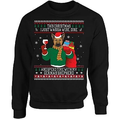 german shepherd ugly christmas sweater style gift adult sweatshirt s black