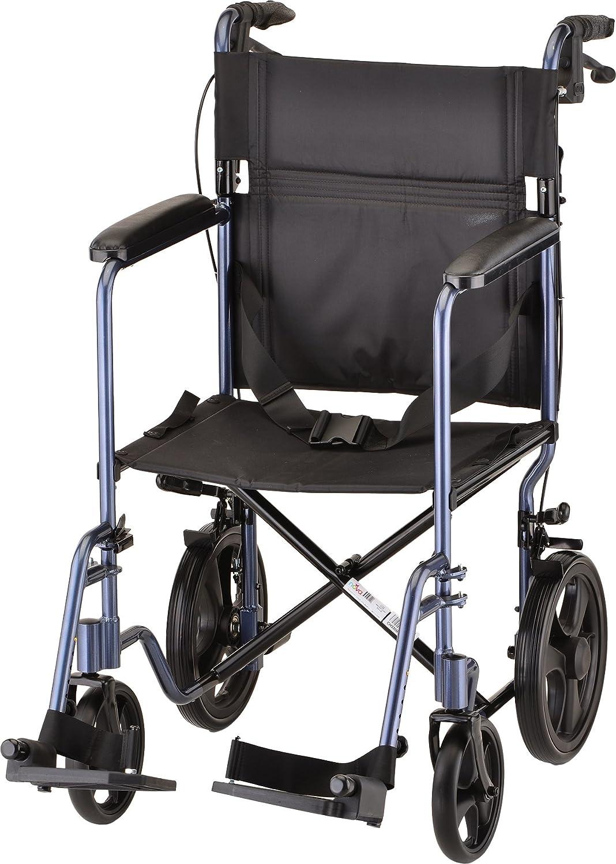 "NOVA Lightweight Transport Chair with Locking Hand Brakes, 12"" Rear Wheels, Full Length Padded Armrests, Blue"