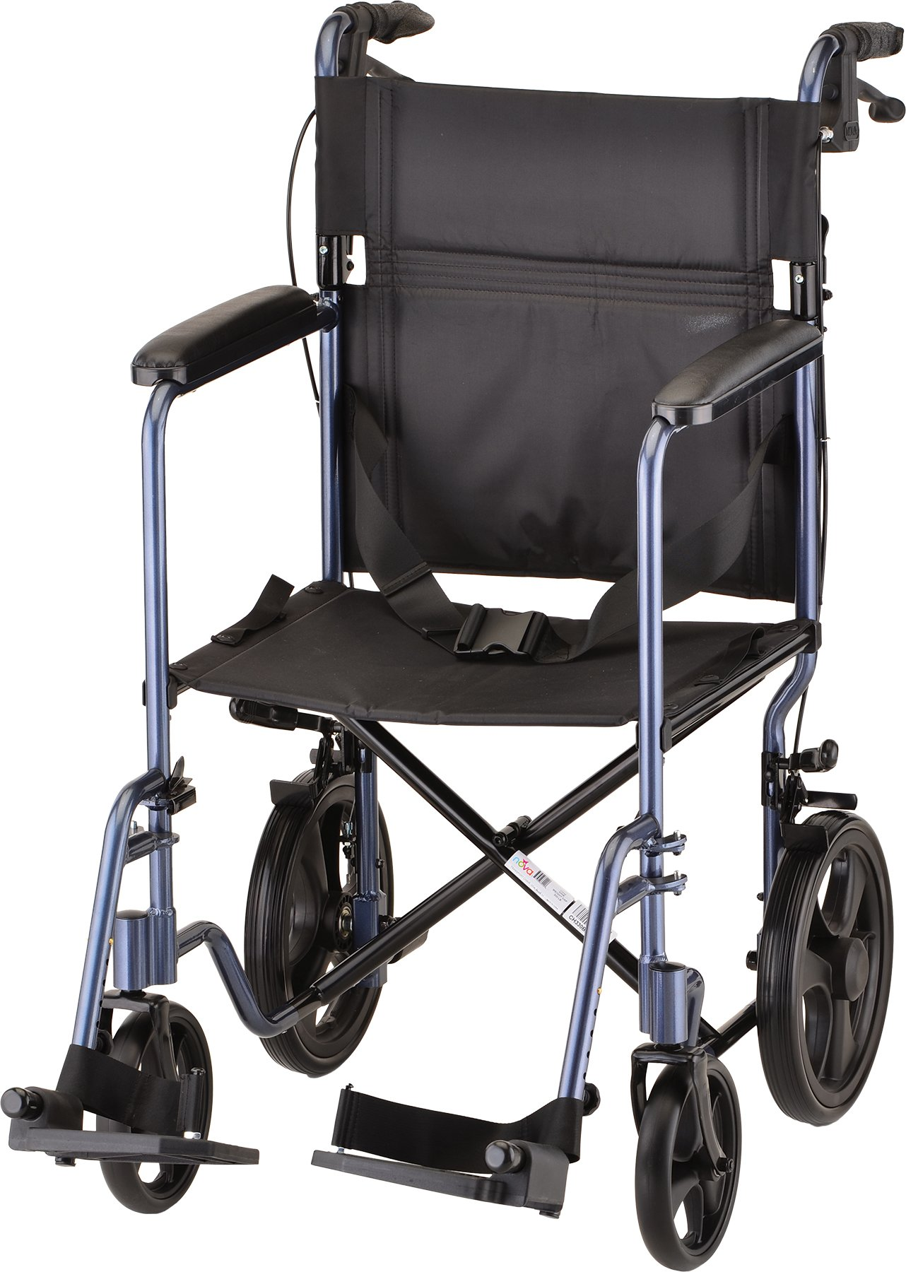 NOVA Lightweight Transport Chair with Locking Hand Brakes, 12'' Rear Wheels, Full Length Padded Armrests, Blue by NOVA Medical Products