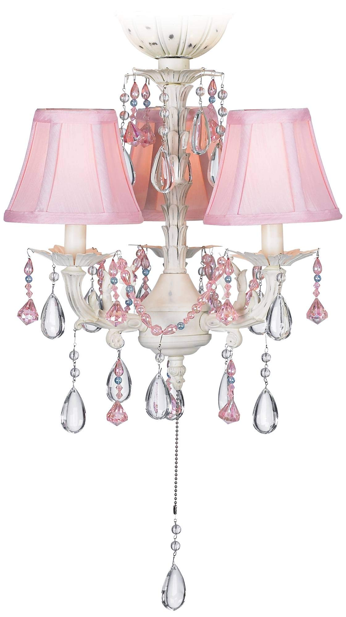 Pretty-in-Pink Pull-Chain 3-Light LED Ceiling Fan Light Kit