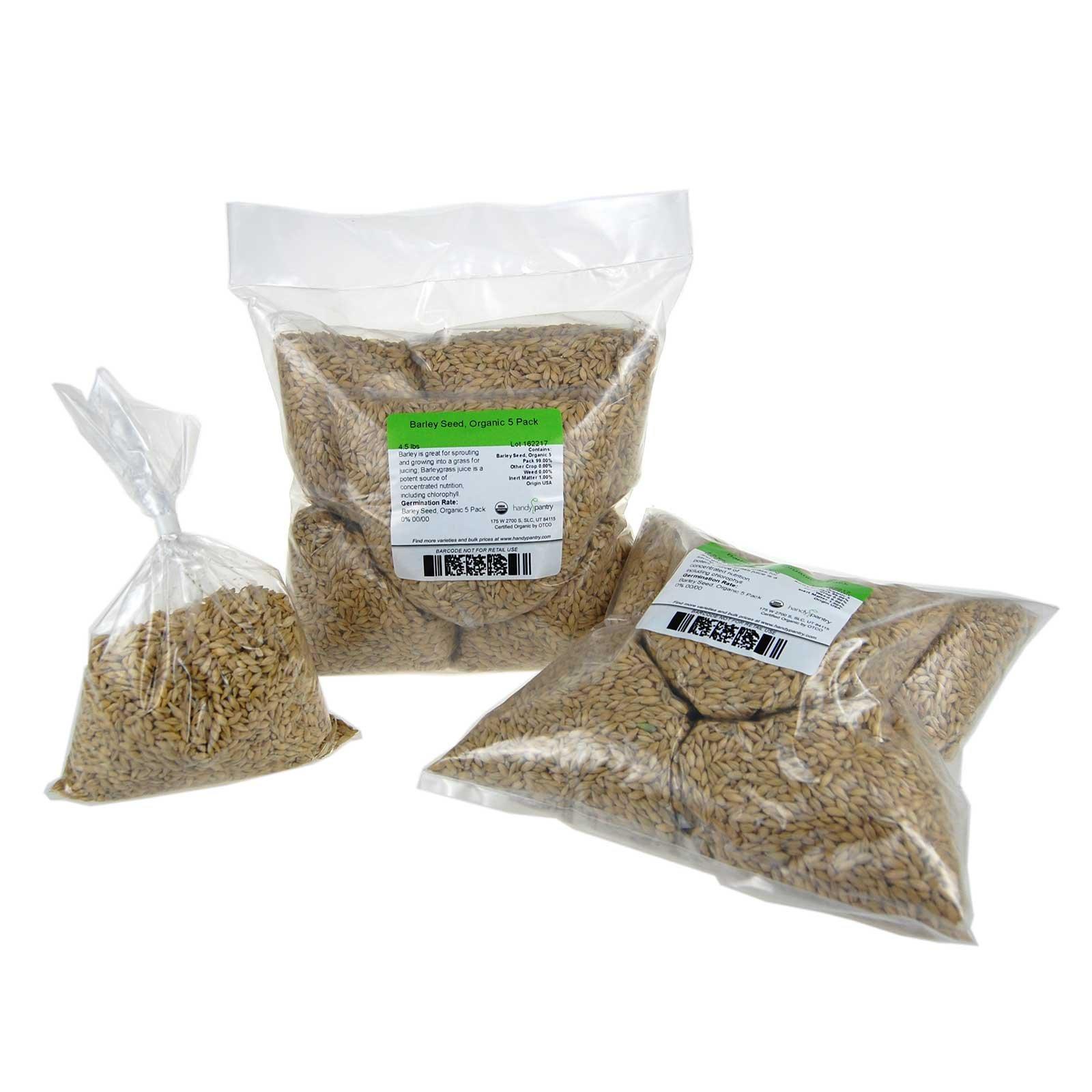 Organic Barley Seeds - 9 Lbs in Pre-Measured Bags for 10x20 Trays - Whole (Hull Intact) Barleygrass Seed - Ornamental Barley Grass, Juicing