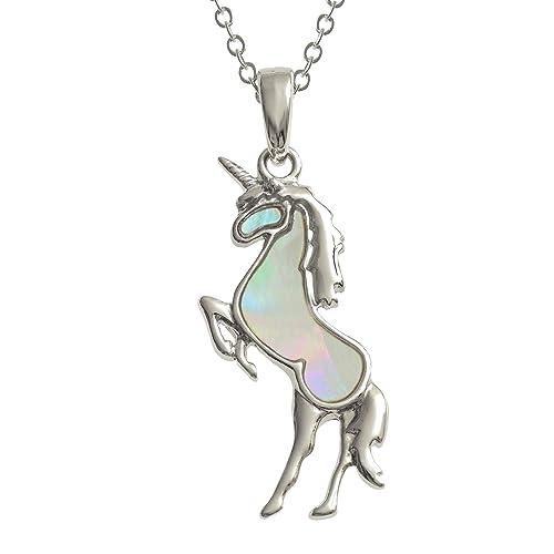 Tide Jewellery - Collar con colgante de unicornio blanco incrustado con concha de nácar de 45