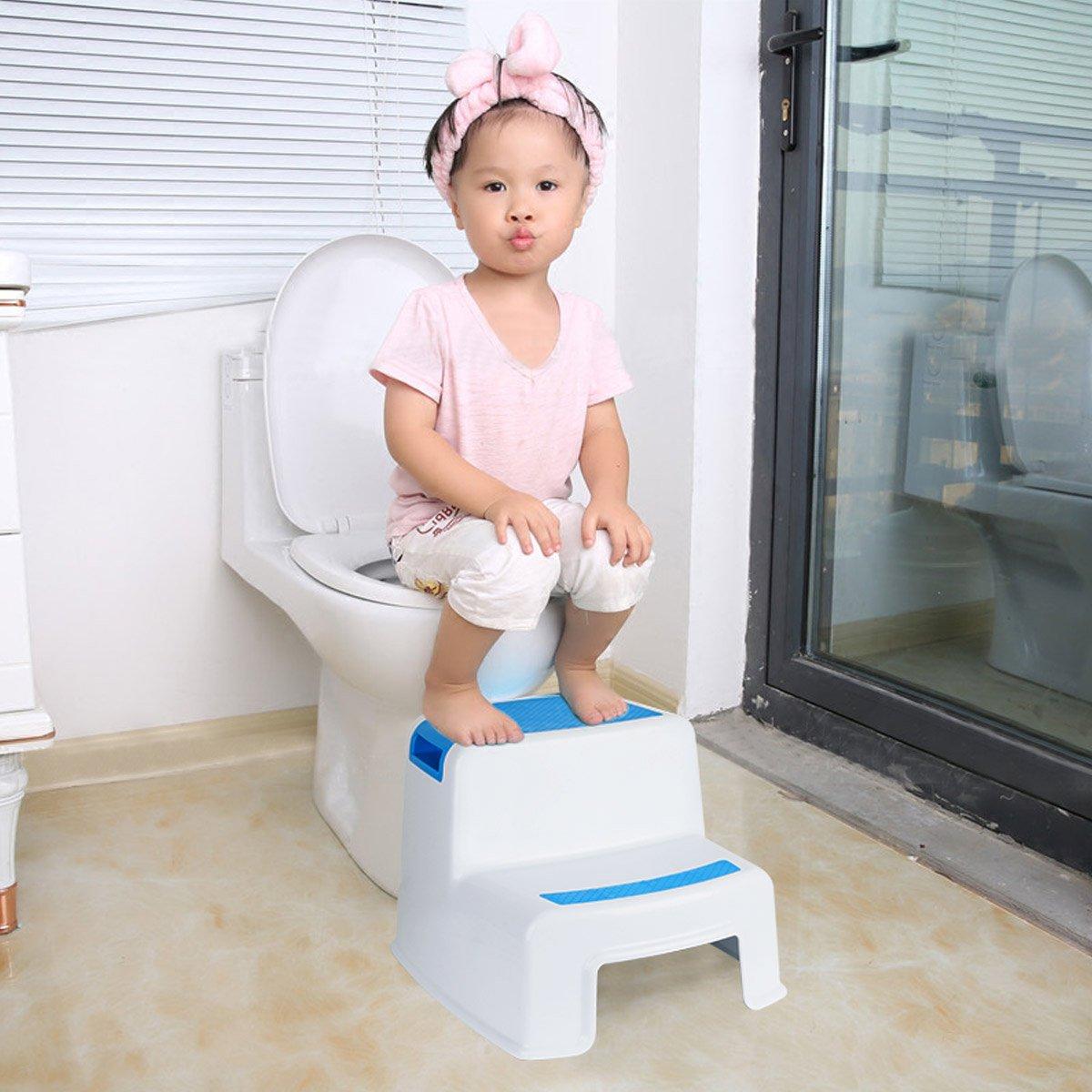 Funhoo Rutschfester Tritthocker Trittschemel für Kinder, 16-Stufen Schemel  zum Toilettentraining, Händewaschen in Badezimmer, Kinderzimmer, Küche -