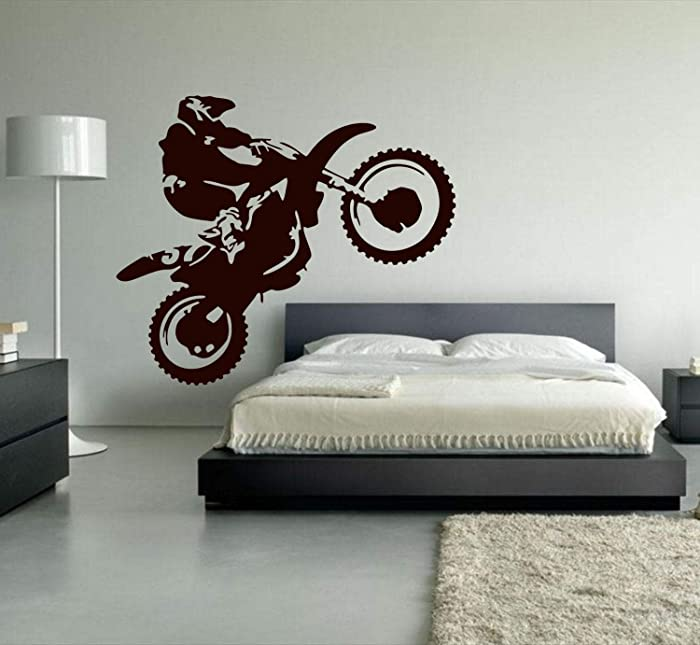 YttBuy Dirt Bike Wall Decals Motocross Decal Motocross Wall Decals Motocross Wall Decal Motocross Decals Dirt Bike Decals for Wall Dirt Bike Wall Sticker for Motocross Bedroom