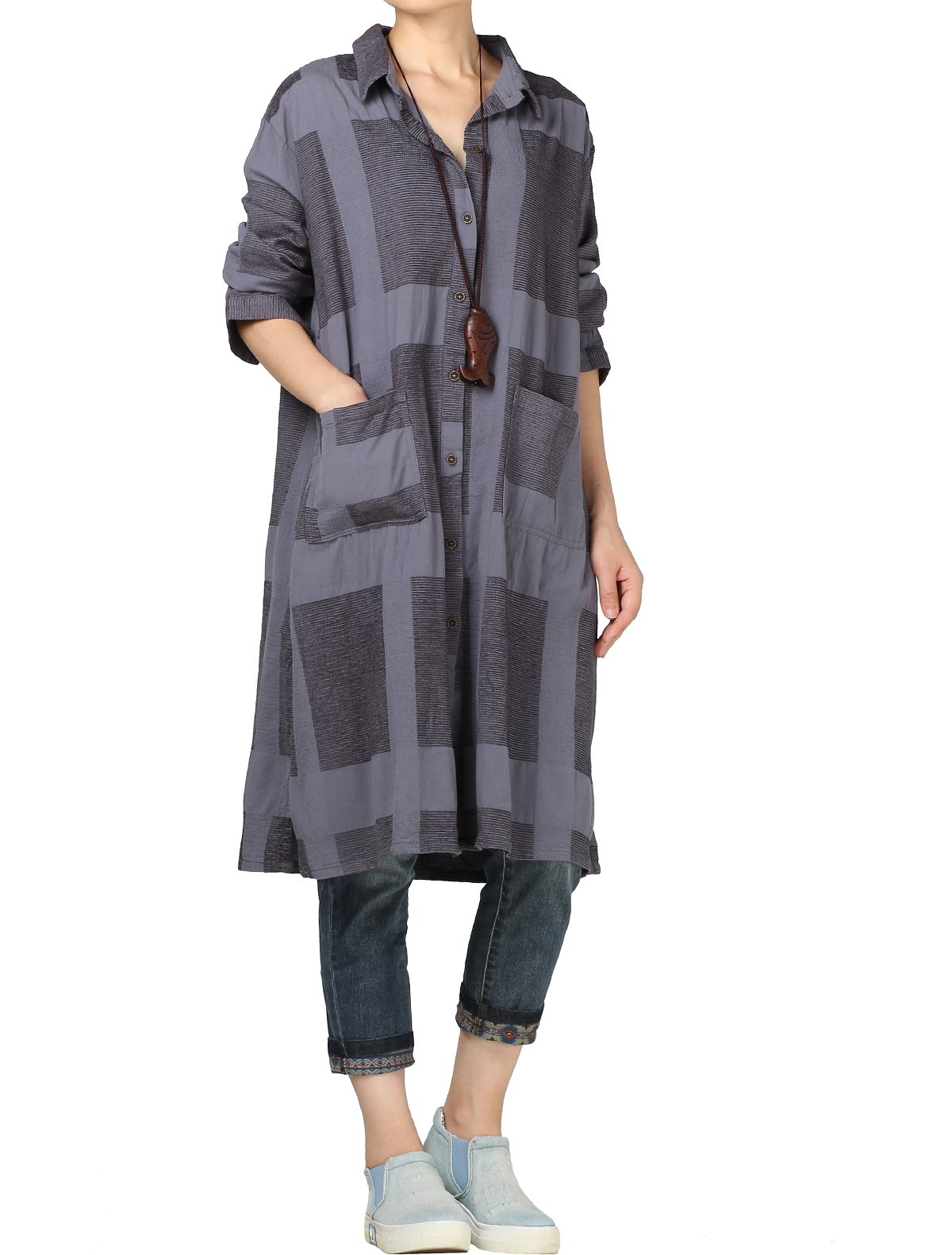 Mordenmiss Women's Plaid Long Blouse Button Down Shirt Cardigan Check Jacket L Gray