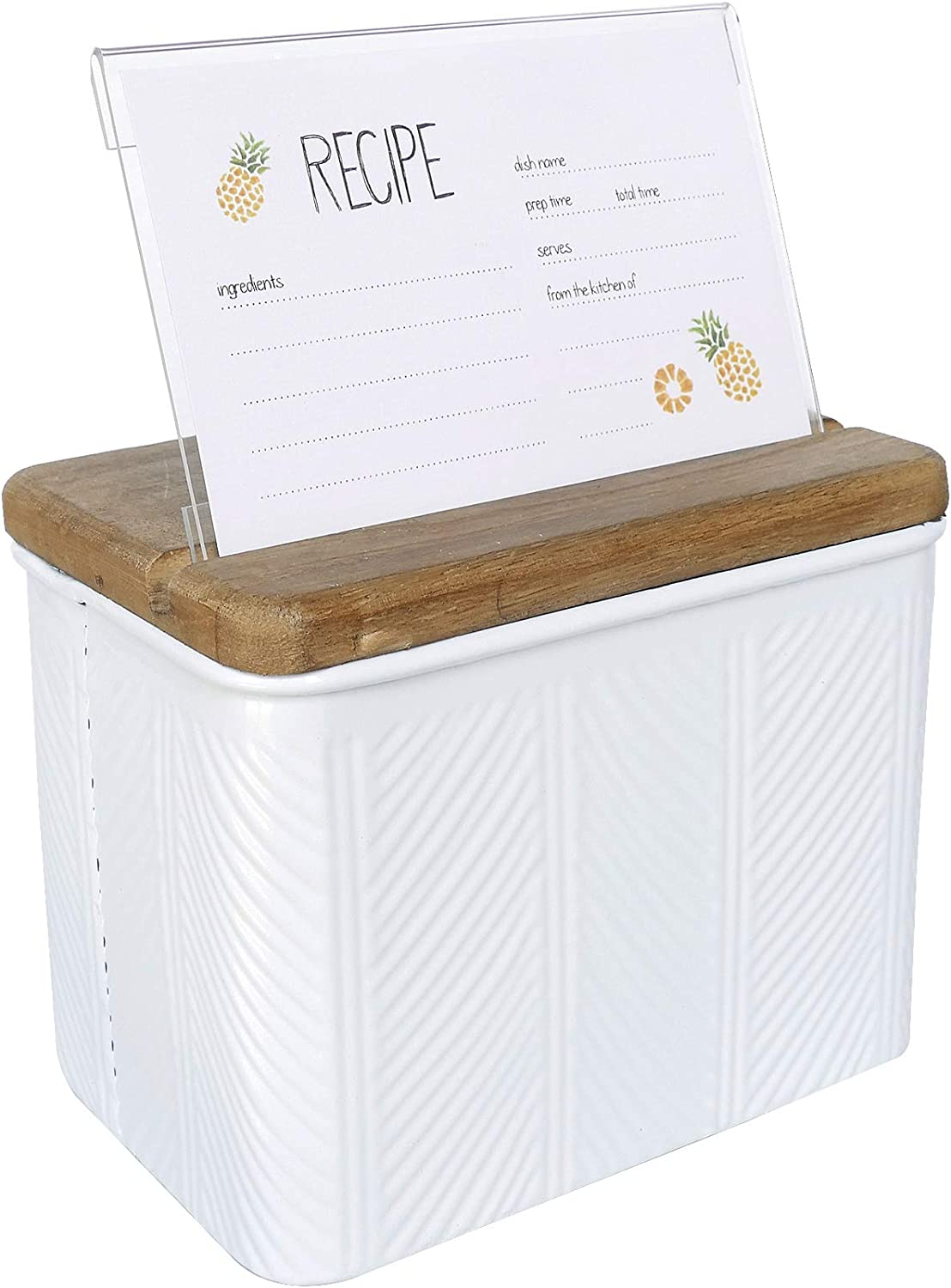 NIKKY HOME Kitchen Metal Recipe Organization Box with Cards and Dividers, 7.09 x 4.72 x 5.71 Inches