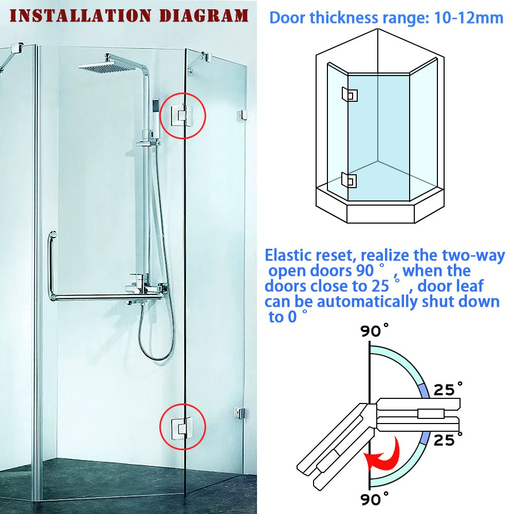 spessore 4/mm vetro a parete morsetto per porta di vetro//vetro finitura lucida Sayayo 135/gradi di vetro /12/mm in acciaio INOX ebl7700-c Adaptive per ante in vetro//8/