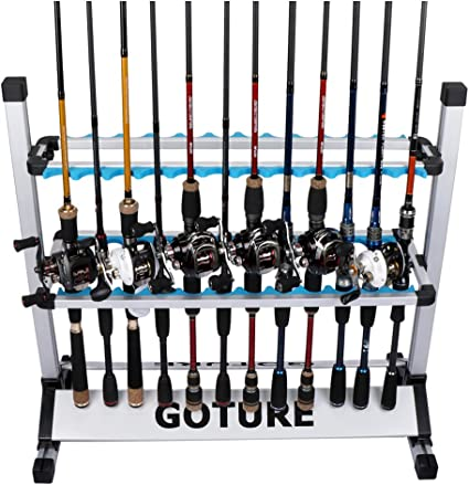 Freestanding Fishing Rods Holder Storage Organizer 24 Fishing Pole Rack Aluminum