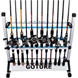 Goture Portable Fishing Rod Rack Metal Aluminum Alloy and Ultralight Fishing Rod Holder for All Type Fishing Pole, Hold Up to 24 Rods