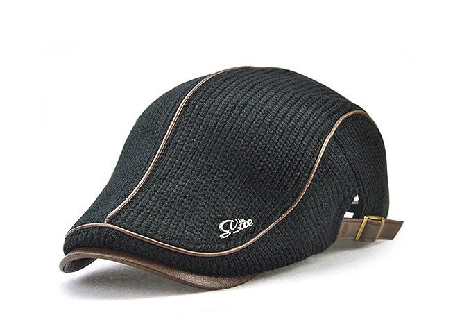 e471ab8bae1 Vinchou Knitted Newsboy Ivy Hat Wool Thicken Warm duckbill Peaked Cap Men  The Elderly (E