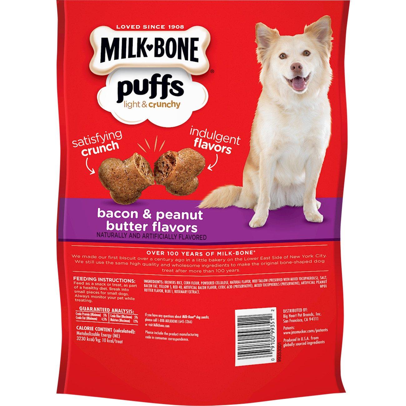 Amazon Com Milk Bone Puffs Peanut Butter And Bacon Dog Treats 8
