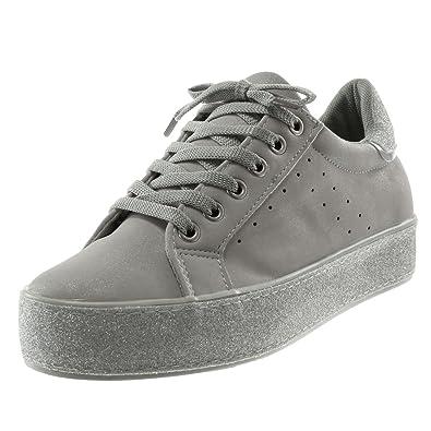 Angkorly - Damen Schuhe Sneaker - Tennis - Sporty chic - Plateauschuhe -  Glitzer - Perforiert 9735a1cf6c