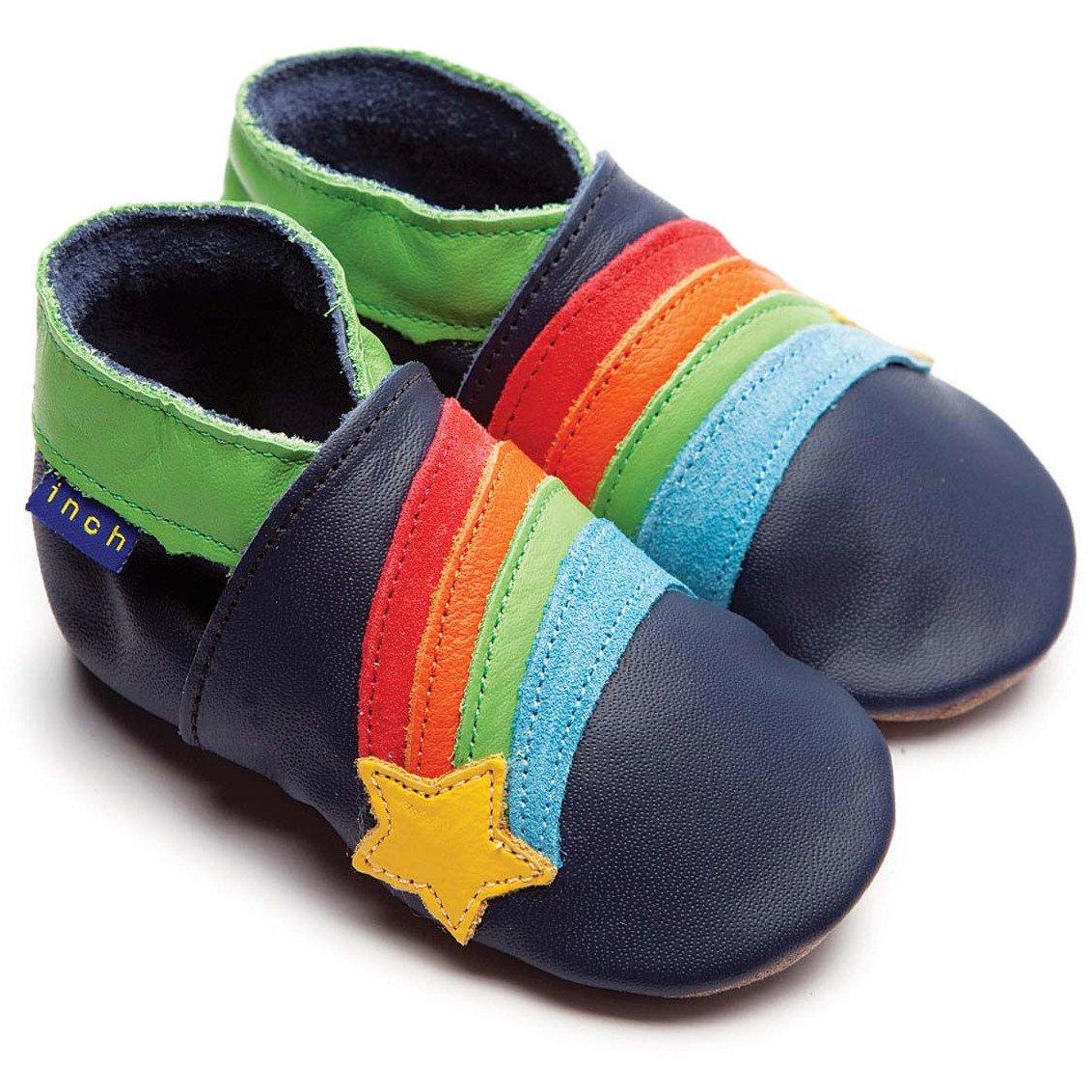 Inch Blue Boys Baby Luxury Leather Soft Sole Pram Shoes - Rainbow Star Navy