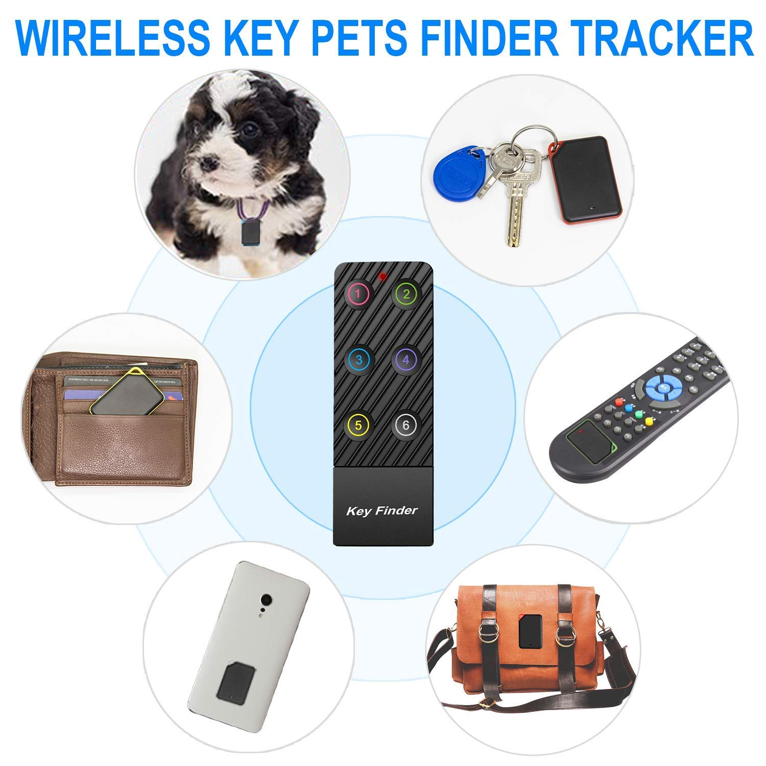 Integrated Key Pets Finder Tracker,ldcx Wireless RF Item Locator Anti Lost Keys Phone Pet Cat Dog Keychain Wallet Luggage Tag Alarm Reminder,1 RF Transmitter 6 Receivers Remote Tracking Finders by ldcx