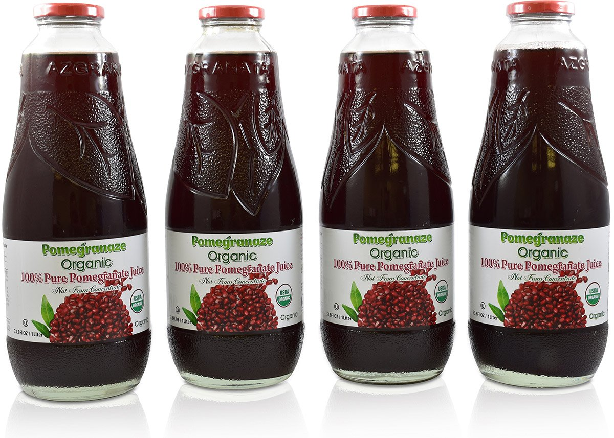 100% Organic Pomegranate Juice - 4 Pack - 33.8 fl oz - USDA Certified - Glass Bottle - No Sugar Added - No Preservatives - Squeezed From Fresh Pomegranates by Blue Ribbon (Image #1)