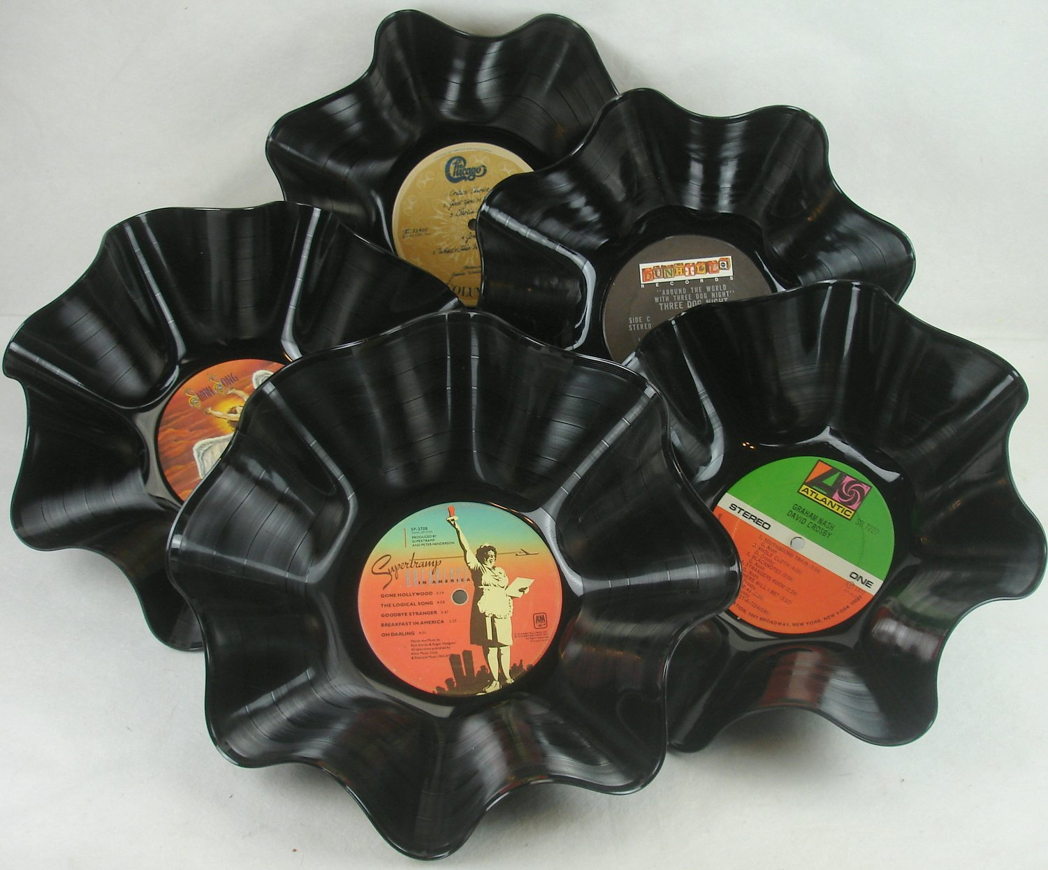 Set of 5 Record Bowls - Rock & Roll Music 1970s/80s Recycled Vinyl LPs