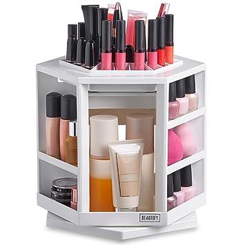 Beautify 360 Rotating Makeup Cosmetic Storage Organiser White