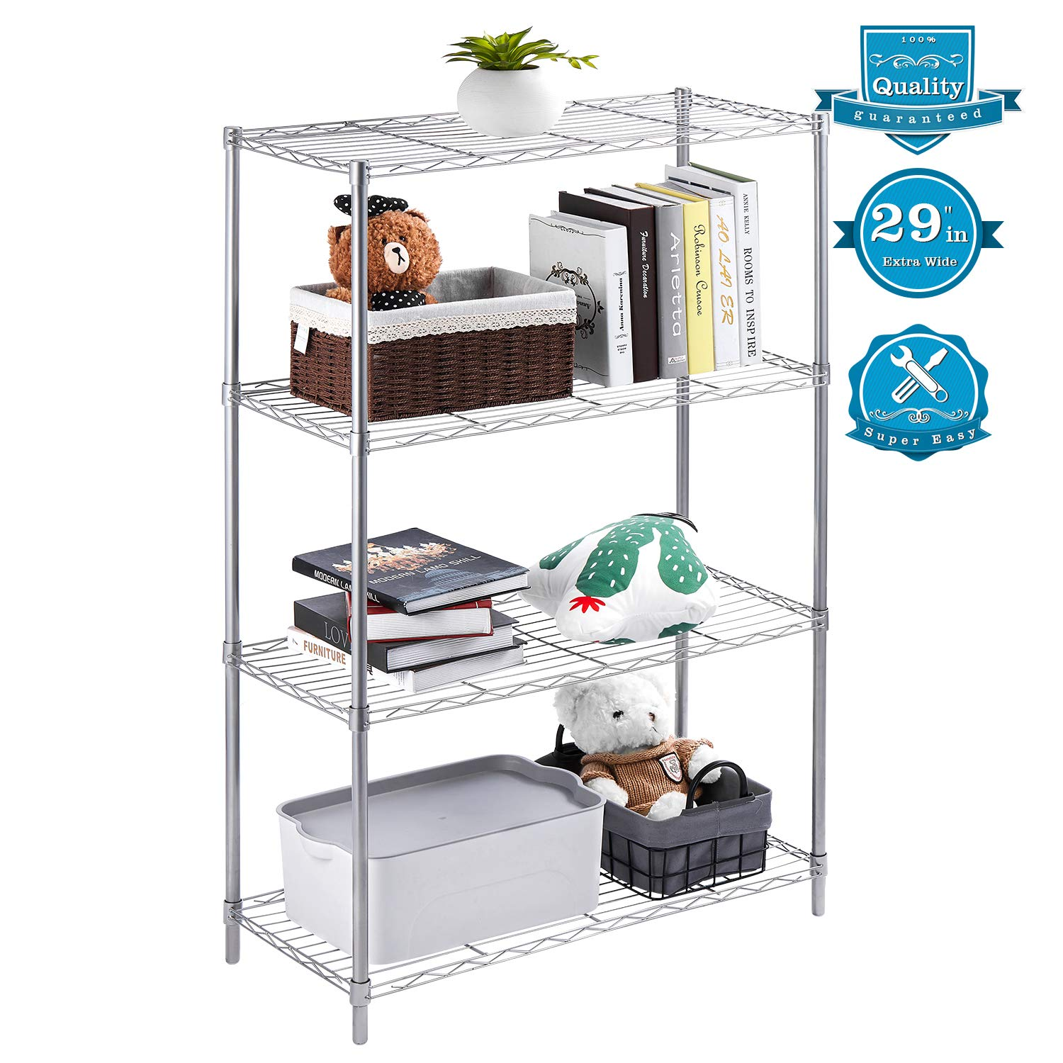AOOU Shelf 4-Tier Shelving Unit, 29'' Extra Wide Wire Shelving for Large Storage, Classic Metal Steel Storage Rack Sturdy for use in Pantry, Living Room, Kitchen, Garage, Coated with Silver