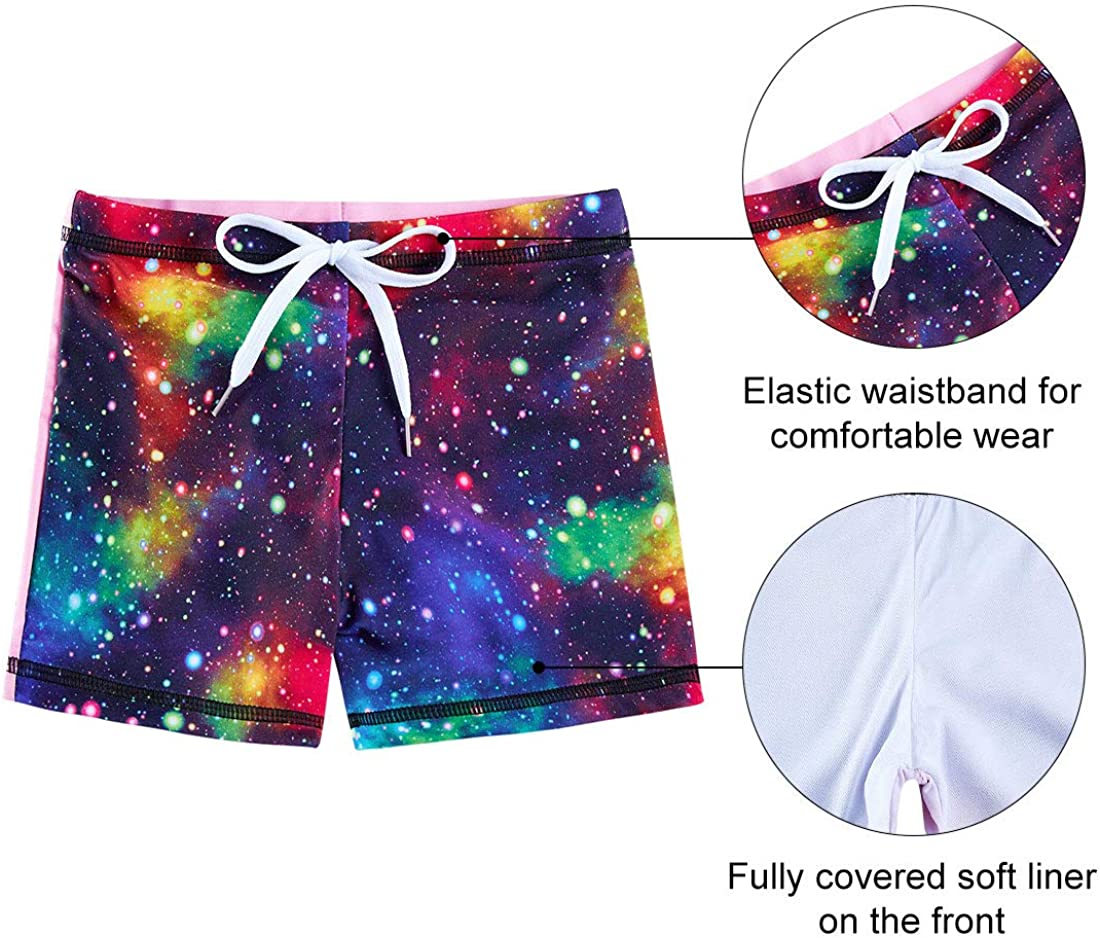 AIDEAONE Little Girls Two Piece Swimsuit Rash Guard Set Short Sleeve Bathing Suit UPF50 Beach Swimwear 3-10T