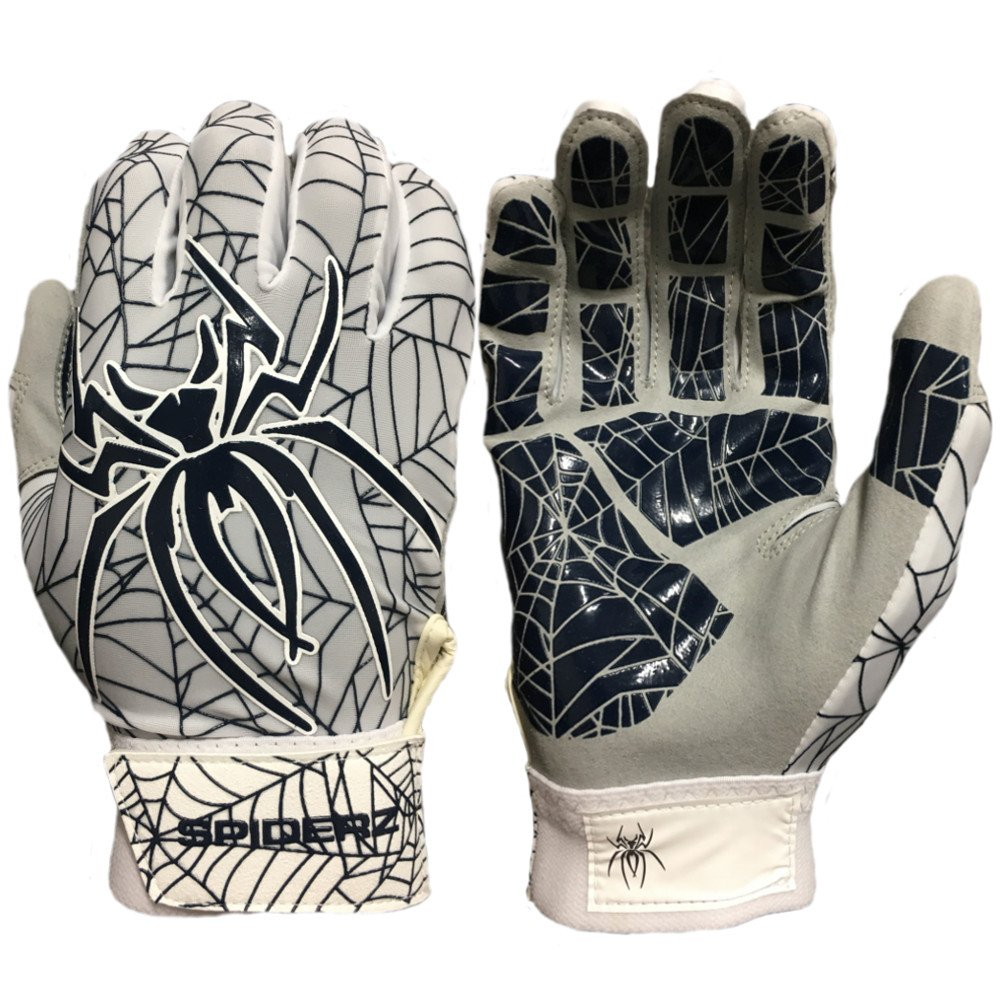 Spiderz Lite Batting Gloves with Enhanced Silicon Spider Webグリップ B077J394XQ Adult Medium|ホワイト/ネイビーブルー ホワイト/ネイビーブルー Adult Medium