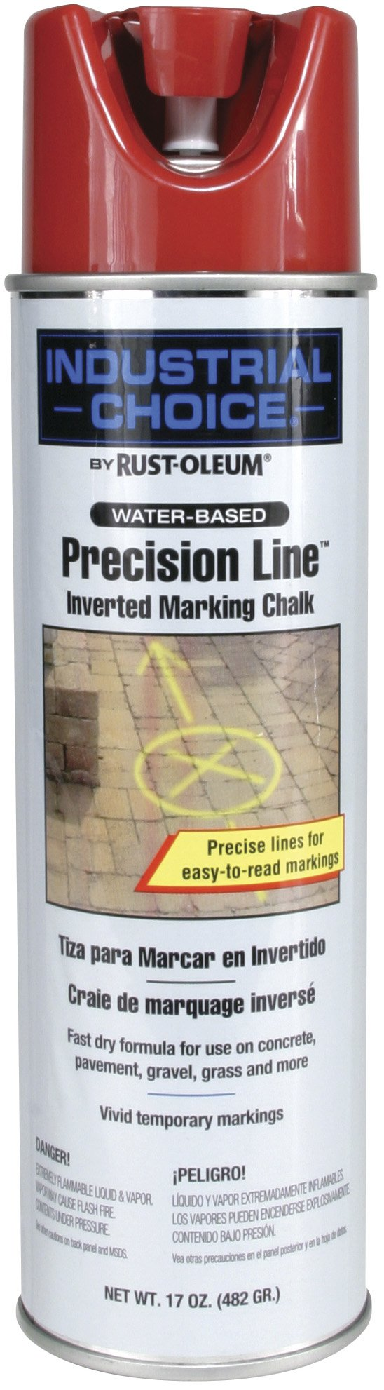 Rust-Oleum 205235 MC1800 System Precision Line Inverted Marking Chalk, 17-Ounce, Red