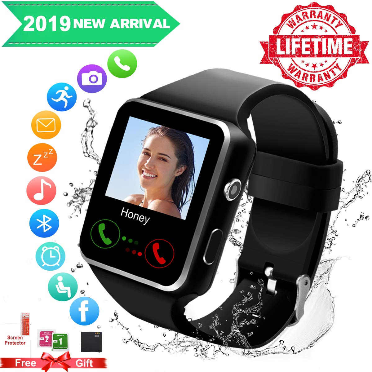 Android Smart Watch for Women Men, 2019 Bluetooth Smartwatch Smart Watches Touchscreen with Camera, Cell Phone Watch with SIM Card Slot Compatible Android Samsung iOS Phones XS 8 7 6 Note 8 9 Adult by Topicy