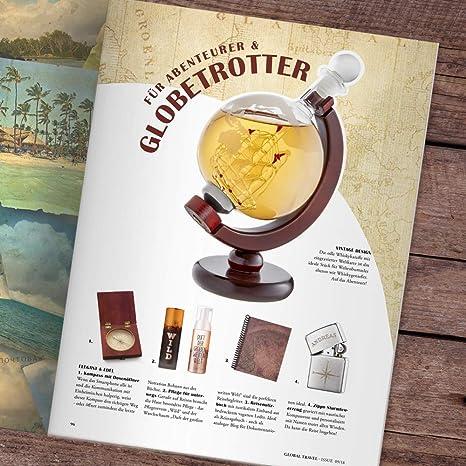 Licorera para whisky como Globo Terráqueo - Jarra con cierre hermético - Botella con grabado de mapa del mundo - Barco en el interior - Decantador ...