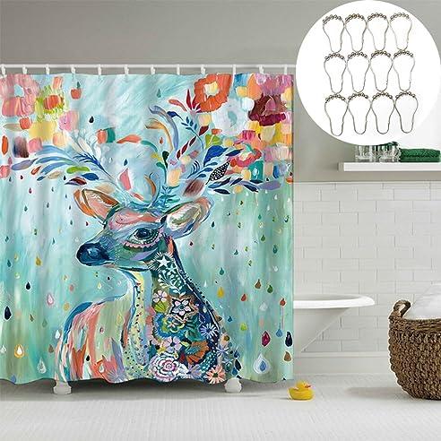 duschvorhang polersun fester duschvorhang 3d deer waschbar wasserdicht stoff vorhang badezimmer dusche badewanne dekoration vorhnge - Stoff Vorhang Dusche