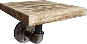 FURNITURE PIPELINE SD1 Industrial Vintage, Decorative Single Wall Mounted Pipe Shelf, Metal and Reclaimed-Aged Wood Finish