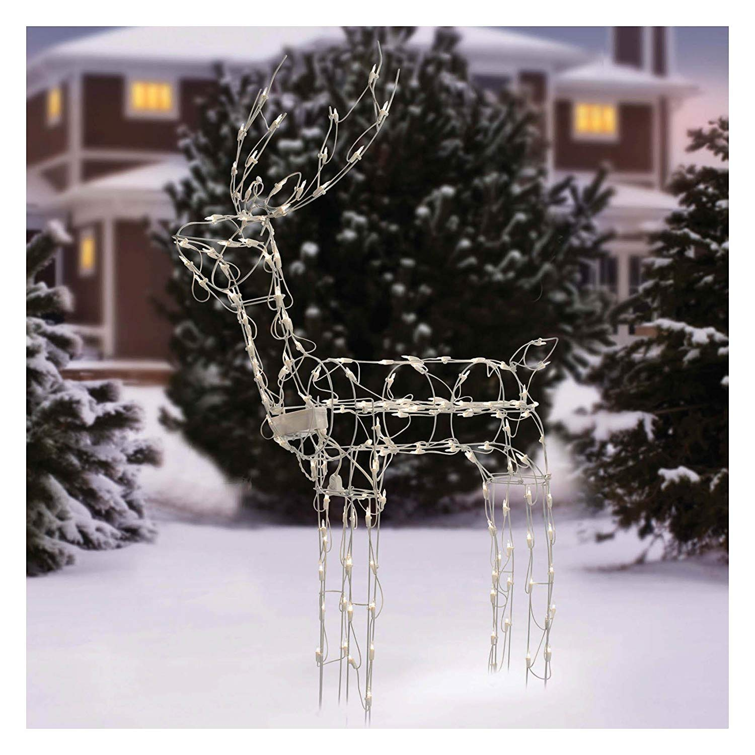 Animated 3 D Wire Standing Buck Reindeer Lighted And Wiring Diagrams For Incandescent String Light Moving Christmas Yard Decoration 48 Inches Tall Garden Outdoor