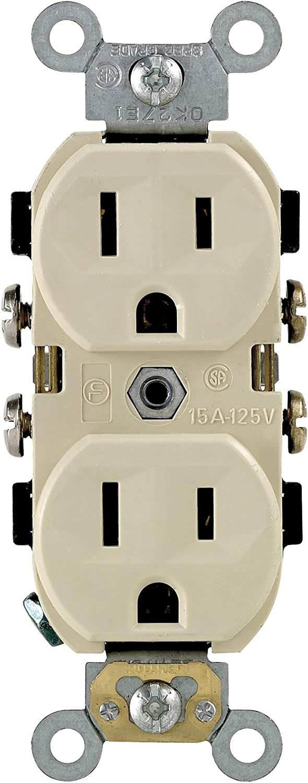 125 Volt Box of 10 New Leviton 5014-I Ivory Duplex Receptacles 15 Amp