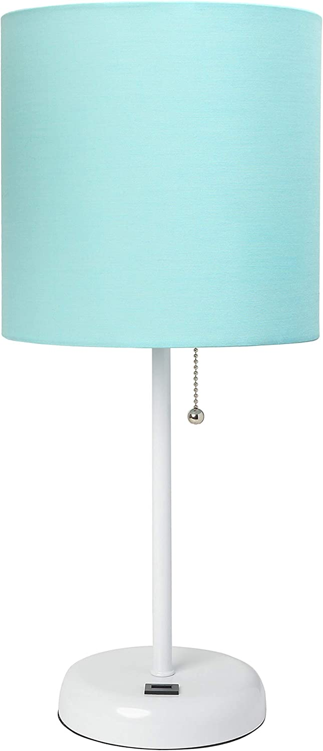 Limelights LT2044-AOW White Stick USB Charging Port and Aqua Fabric Shade Table Lamp