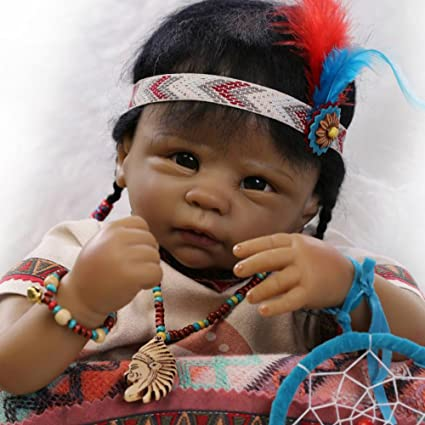 Amazon Com Native American Indian Black Reborn Baby Doll Soft Vinyl