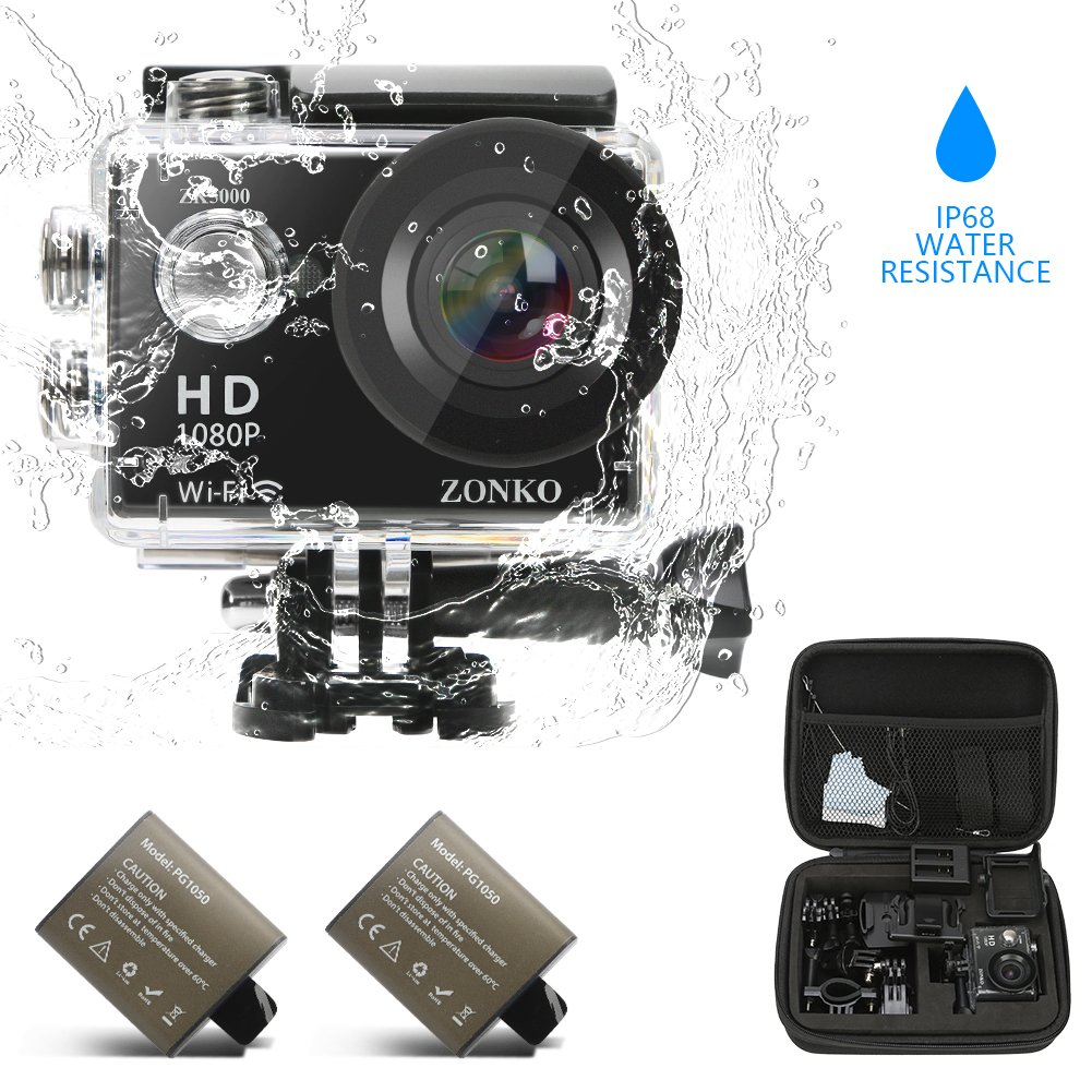 Action Camera ZONKO 1080P Full HD Wi-Fi 2'' LCD Sports Camera 170° Wide Angle 30M Waterproof Camera with 2 Rechargeable 1050mAh Batteries Free Portable Carrying Bag Include 18 Accessories Kit