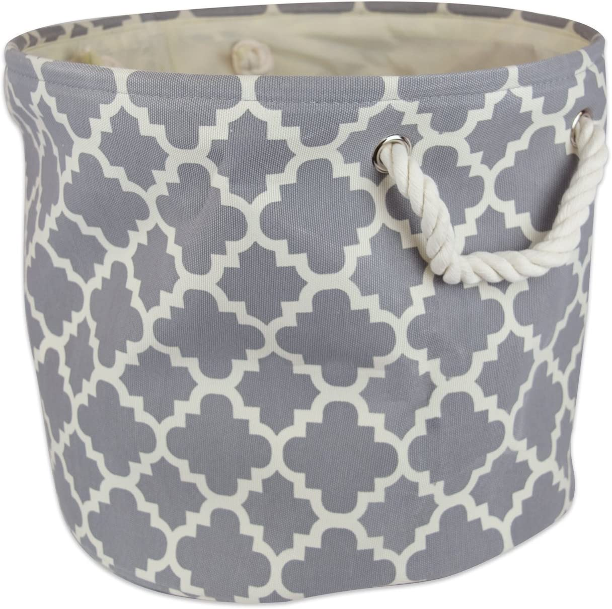 """DII Collapsible Polyester Storage Basket or Bin with Durable Cotton Handles, Home Organizer Solution for Office, Bedroom, Closet, Toys, Laundry (Large Round – 15x16""""), Gray Lattice"""