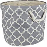 DII Printed Polyester, Collapsible and Convenient Storage Bin To Organize Office, Bedroom, Closet, Kid's Toys, & Laundry - Large Round, Gray Lattice