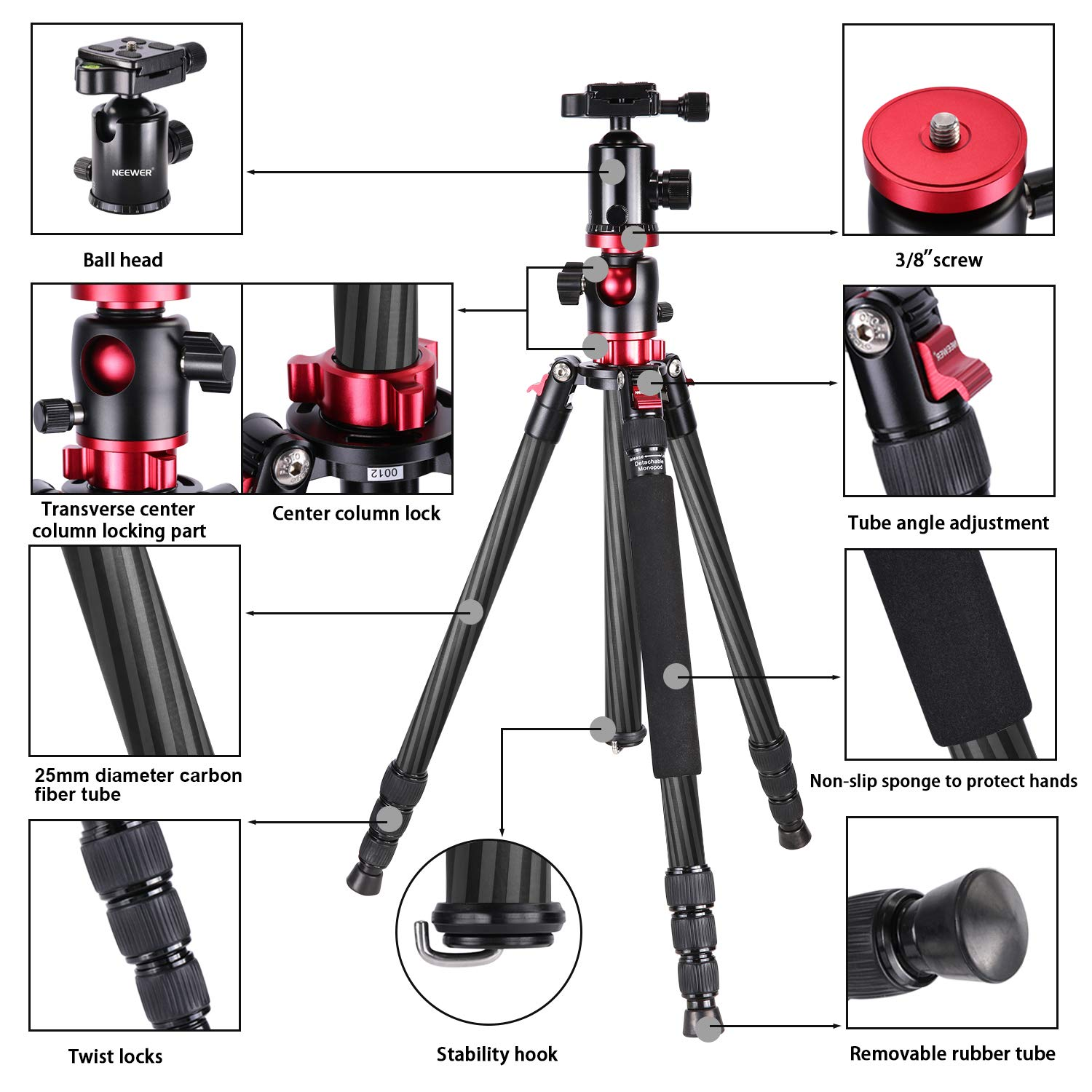 Neewer Camera Tripod Monopod Carbon Fiber with Rotatable Center Column - Portable Lightweight, 75 inches/191 Centimeters, 360 Degree Ball Head for DSLR Camera Camcorder up to 26.5 pounds by Neewer (Image #3)